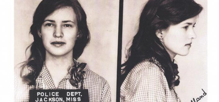 Joan Muholland mugshot after her arrest in Jackson, Mississippi in 1961. (Photo source: Joan Muholland)