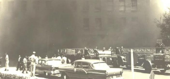 Smoke rises from the Pentagon on July 2, 1959. (Photo source: Arlington Fire Journal blog)