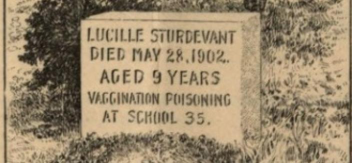 Image of a gravestone of someone who allegedly died of vaccine poisoning at school (Source: Thomas Boudren, An Open Letter to the Governor and Members of the General Assembly of Connecticut, Bridgeport, Connecticut: Press of the Farmer Pub., Co., 1911)