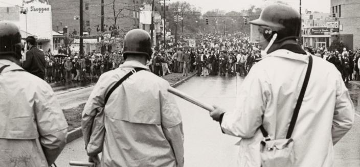 Student protesters face down riot police on Route 1, University of Maryland, 1970 (Photo source: University of Maryland Special Collections)