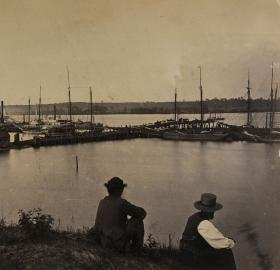 The Potomac River waters near Alexandria, shown here during the Civil War, were filled with arks that offered a variety of illicit entertainments during the late 19th and early 20th centuries. (Image Source: Library of Congress)