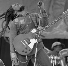 Bob Marley performs on stage in Ireland in 1980. No doubt the crowd was a lot more enthusiastic than the one at his 1973 U.S. Naval Academy gig. (Photo source: Flickr user monosnaps. Used under Creative Commons 2.0 license.)