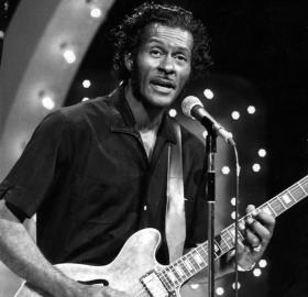 "Chuck Berry performing on the television program ""The Midnight Special,"" November, 1973. (Source: via Wikimedia Commons)"