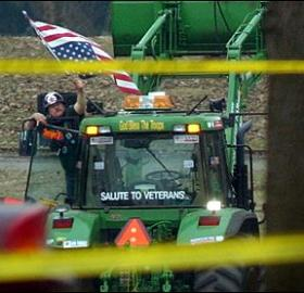 North Carolina tobacco farmer Dwight Watson single-handedly gridlocked downtown Washington in March 2003 when he drove his tractor into the pond at Constitution Gardens and claimed to have a bomb. (Photo source: Associated Press via Wikipedia)