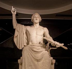 Horatio Greenough's classical George Washington sculpture. (Photo source: Wikipedia)