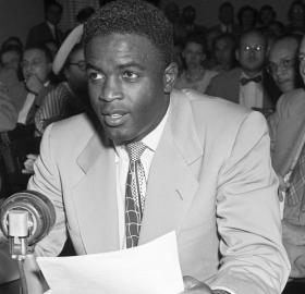 Jackie Robinson testifying before the House Un-American Activities Committee, July 18, 1949 (Credit: Bettmann / Getty Images)