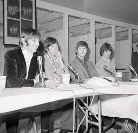 The Beatles hold a press conference in the Washington Senators' locker room at D.C. Stadium, August 15 1966. (Source: Bettmann/Getty Images)