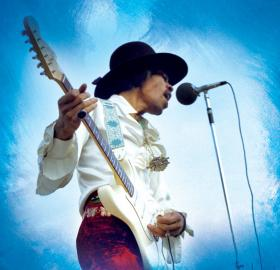 Jimi Hendrix performs at the 1968 Miami Pop Festival. (Photo Courtesy of © Ken Davidoff/Authentic Hendrix LLC)