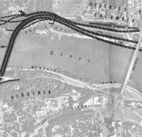 Map of proposed Three Sisters Bridge to connect Virginia and Washington D.C. via I-266