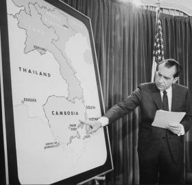 On April 30, 1970, President Nixon announced the attack on Cambodia in a televised address to the nation. (Photo: Jack E.Kightlinger/NARA)