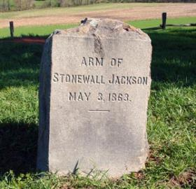 Gravestone marking supposed resting place of Stonewall Jackson's left arm.  (Photo source: Mysteries and Conundrums blog by Fredericksburg and Spotsylvania National Military Park)