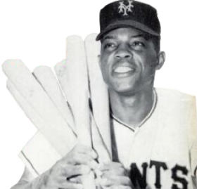 Mays in 1954. After just one year in the minors, Mays was called up to play for the NY Giants, where he was voted Rookie of the Year in 1951. (Credit: Wikipedia)