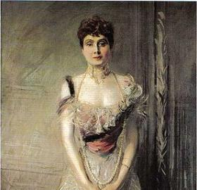 An 1898 portrait of the Infanta by Giovanni Boldini. What, did you think we were going to post a picture of the scandlous dress? This is a family blog! Also, we couldn't find ANY. (Source: Wikicommons)