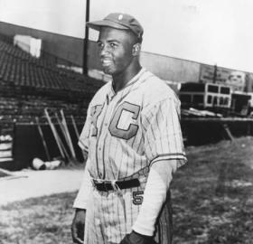 Jackie Robinson tied a National Negro League record by going 7 for 7 at the plate in a June 24, 1945 doubleheader against the Homestead Grays in Washington. (Photo source: Library of Congress, American Memory)