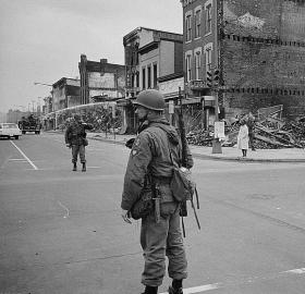 National Guard patrols Washington, D.C. in the aftermath of the 1968 riots. (Source: Library of Congress)