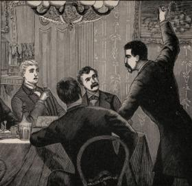 Cipriano Ferrandini addresses other members of the Baltimore plot. Image orginally printed in From The Spy of the Rebellion, by Allan Pinkerton, 1883. (Source: Maryland State Archives)