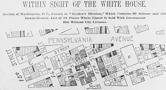 Map of brothels and saloons near the White House. (Source: Library of Congress)