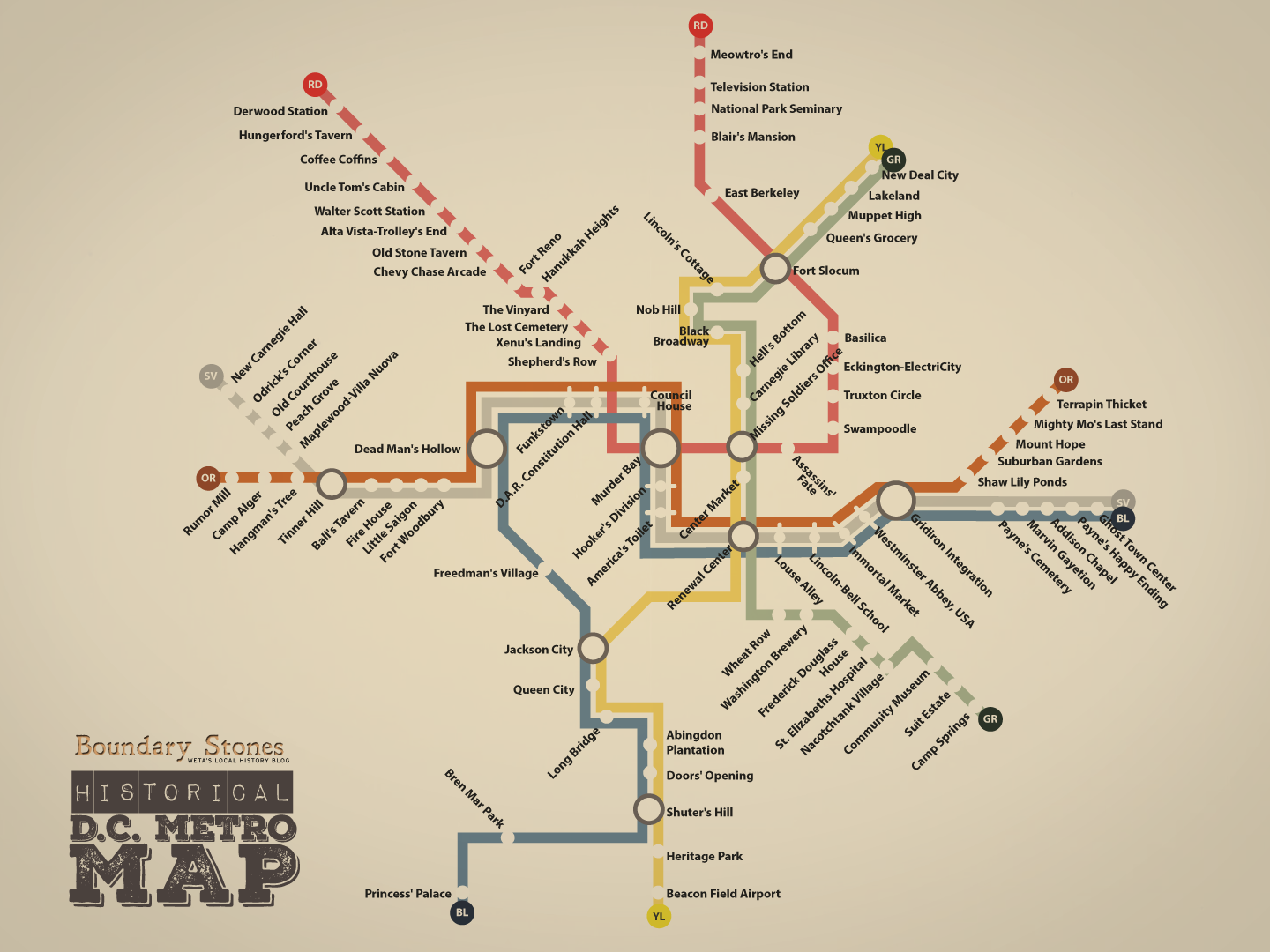Moderne Historical D.C. Metro Map: All Stations | Boundary Stones: WETA's NP-41
